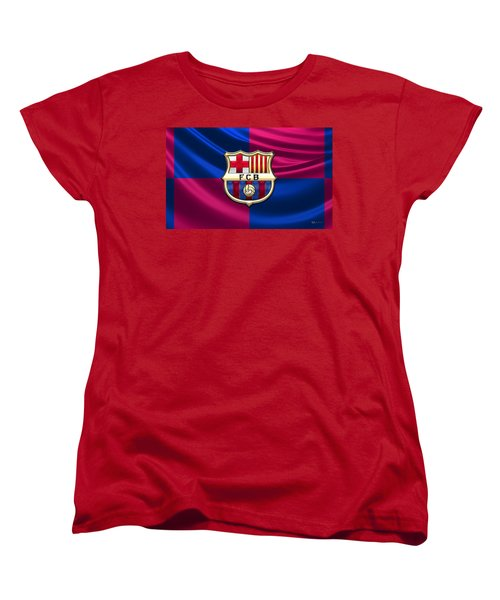 F. C. Barcelona - 3d Badge Over Flag Women's T-Shirt (Standard Cut) by Serge Averbukh