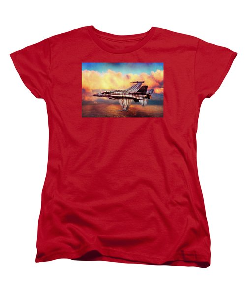 Women's T-Shirt (Standard Cut) featuring the photograph F16c Fighting Falcon by Chris Lord