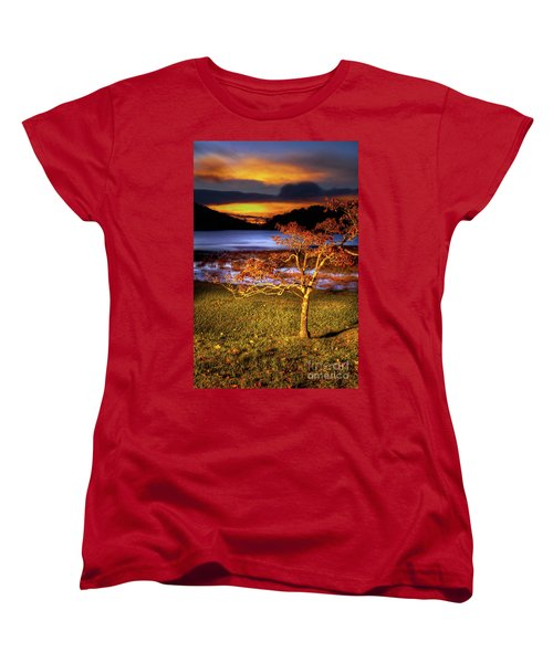 Women's T-Shirt (Standard Cut) featuring the photograph Fall Colors At Sunrise In Otter Blue Ridge by Dan Carmichael