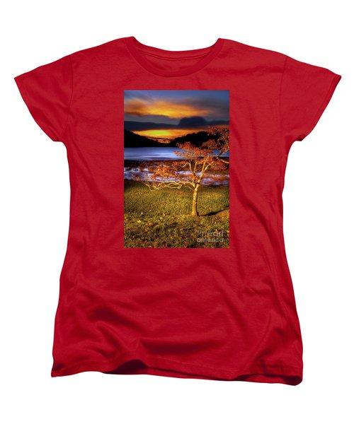 Women's T-Shirt (Standard Cut) featuring the photograph Fall Colors At Sunrise In Otter Blue Ridge by Dan Carmichael