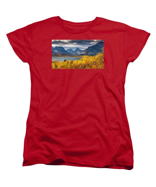Women's T-Shirt (Standard Cut) featuring the photograph Fall Colors In Glacier National Park by Pierre Leclerc Photography