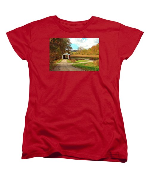 Women's T-Shirt (Standard Cut) featuring the photograph Fall Harvest - Parke County by Harold Rau