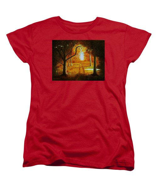 Women's T-Shirt (Standard Cut) featuring the painting Fall In The Woods by Gene Gregory