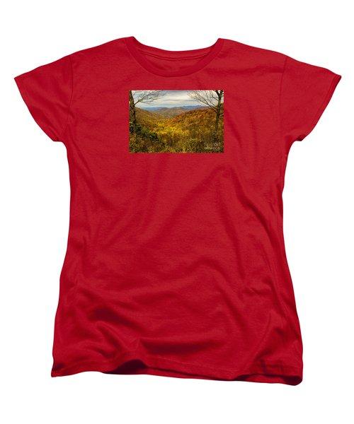 Women's T-Shirt (Standard Cut) featuring the photograph Fall Mountain Overlook by Barbara Bowen