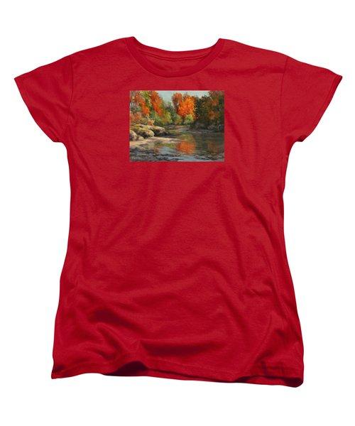 Women's T-Shirt (Standard Cut) featuring the painting Fall Reflections by Karen Ilari