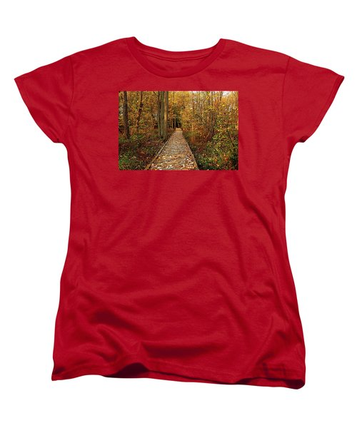 Fall Walk Women's T-Shirt (Standard Cut) by Debbie Oppermann