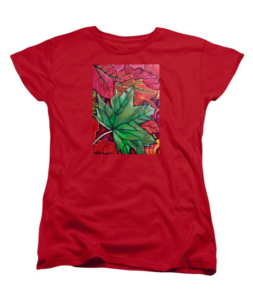 Women's T-Shirt (Standard Cut) featuring the painting Fallen Green Maple Leaf In The Fall by Kimberlee Baxter