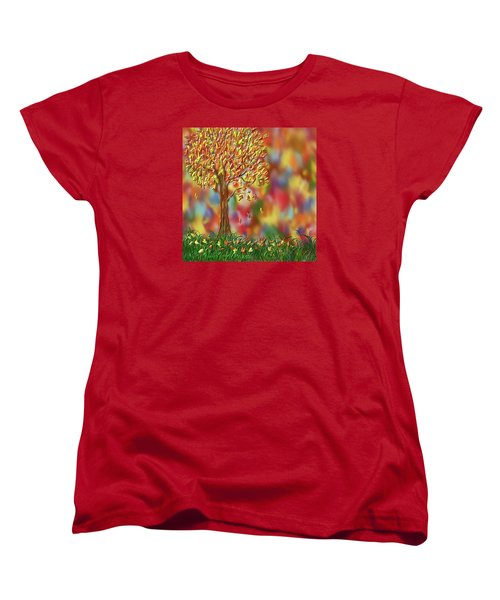 Falling Leaves Women's T-Shirt (Standard Cut) by Kevin Caudill