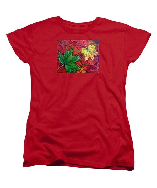 Women's T-Shirt (Standard Cut) featuring the painting Falling Leaves I Painting by Kimberlee Baxter
