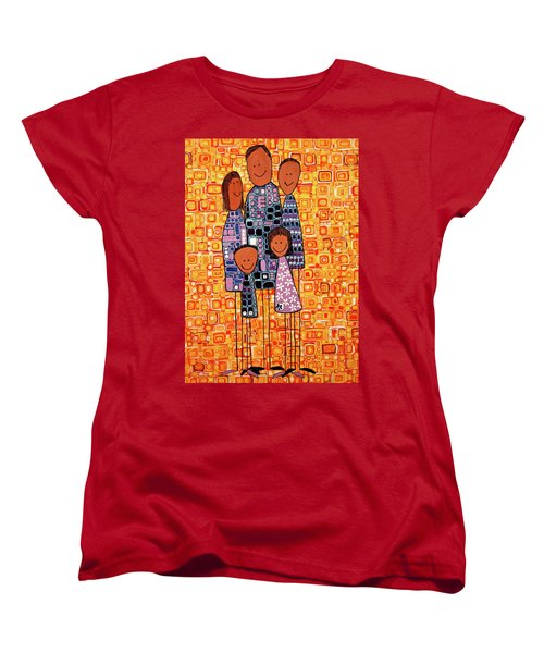 Women's T-Shirt (Standard Cut) featuring the painting Family Portrait by Donna Howard
