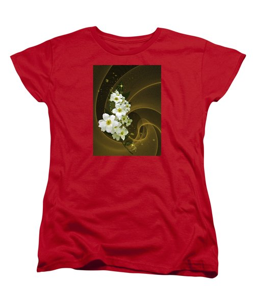 Fantasy In Gold And White Women's T-Shirt (Standard Cut) by Judy  Johnson