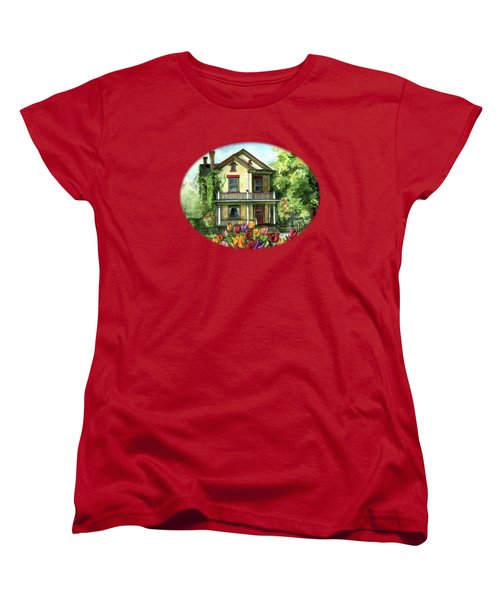 Farmhouse With Spring Tulips Women's T-Shirt (Standard Cut) by Shelley Wallace Ylst