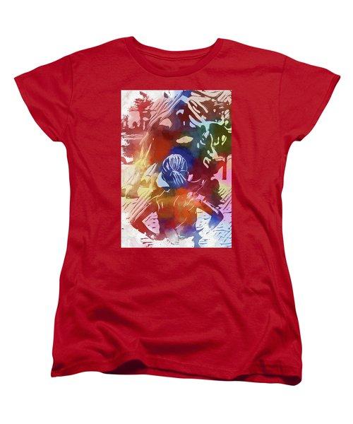 Women's T-Shirt (Standard Cut) featuring the mixed media Fearless Girl Wall Street by Dan Sproul