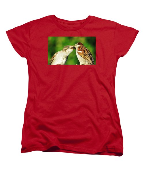 Women's T-Shirt (Standard Cut) featuring the photograph Feeding Baby Sparrow 3 by Judy Via-Wolff