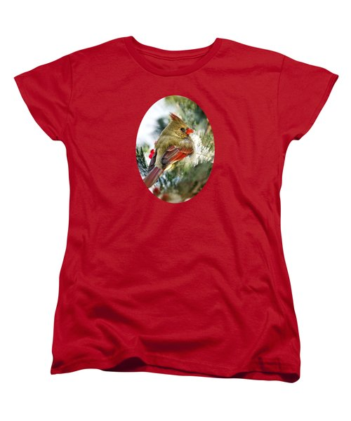 Female Northern Cardinal Women's T-Shirt (Standard Cut) by Christina Rollo