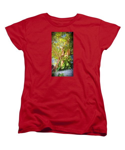 Women's T-Shirt (Standard Cut) featuring the digital art Fence And Trees In Keys by Linda Olsen