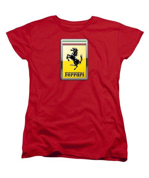 Ferrari 3d Badge-hood Ornament On Red Women's T-Shirt (Standard Cut) by Serge Averbukh