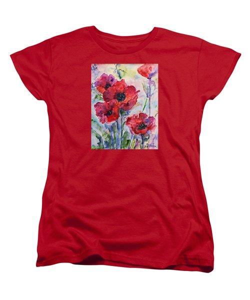Field Of Red Poppies Watercolor Women's T-Shirt (Standard Cut) by AmaS Art
