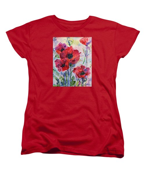 Field Of Red Poppies Watercolor Women's T-Shirt (Standard Cut)
