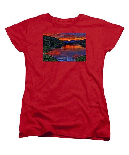 Women's T-Shirt (Standard Cut) featuring the photograph Fiery Lake by Scott Mahon