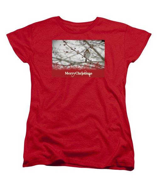 Finch Christmas Women's T-Shirt (Standard Cut) by Trish Tritz