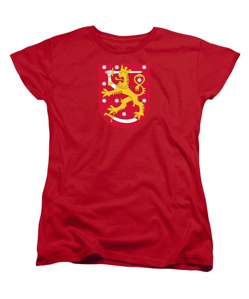 Women's T-Shirt (Standard Cut) featuring the drawing Finland Coat Of Arms by Movie Poster Prints