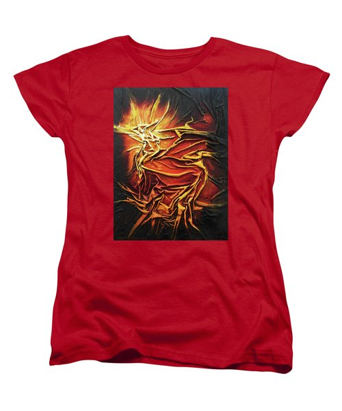 Women's T-Shirt (Standard Cut) featuring the mixed media Fire by Angela Stout