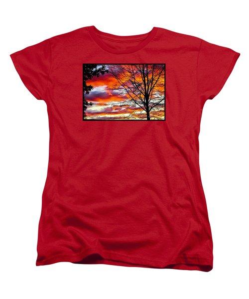 Fire Inthe Sky Women's T-Shirt (Standard Cut) by MaryLee Parker