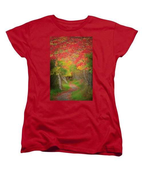 Women's T-Shirt (Standard Cut) featuring the photograph Fire Red Path  by Emmanuel Panagiotakis