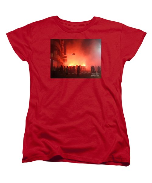 Women's T-Shirt (Standard Cut) featuring the photograph Fireworks During A Temple Procession by Yali Shi