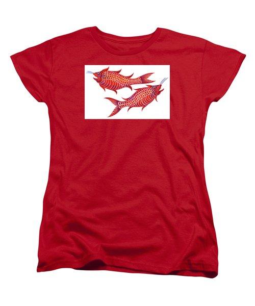Fish Pisces Women's T-Shirt (Standard Cut) by Jane Tattersfield