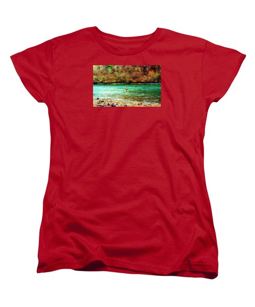 Women's T-Shirt (Standard Cut) featuring the photograph Fisherman Hot Springs Ar In Oil by Diana Mary Sharpton