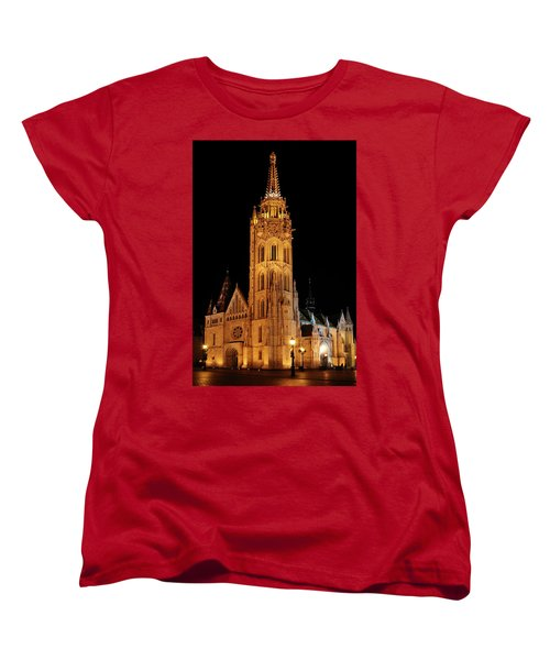 Women's T-Shirt (Standard Cut) featuring the digital art  Fishermans Bastion - Budapest by Pat Speirs