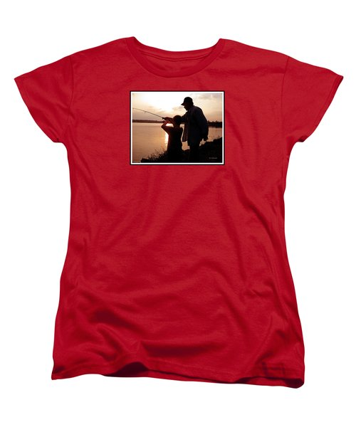 Women's T-Shirt (Standard Cut) featuring the photograph Fishing At Sunset Grandfather And Grandson by A Gurmankin