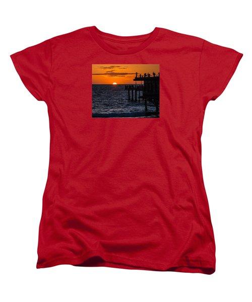 Fishing At Twilight Women's T-Shirt (Standard Cut) by Ed Clark