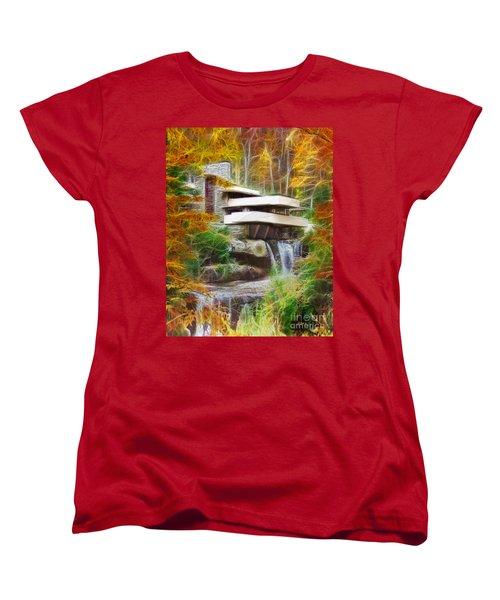 Fixer Upper - Frank Lloyd Wright's Fallingwater Women's T-Shirt (Standard Cut) by John Robert Beck