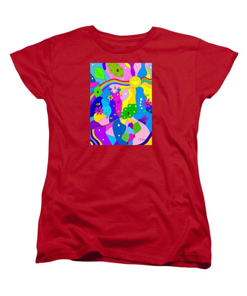 Women's T-Shirt (Standard Cut) featuring the painting Flamboyant Lion by Kathleen Sartoris