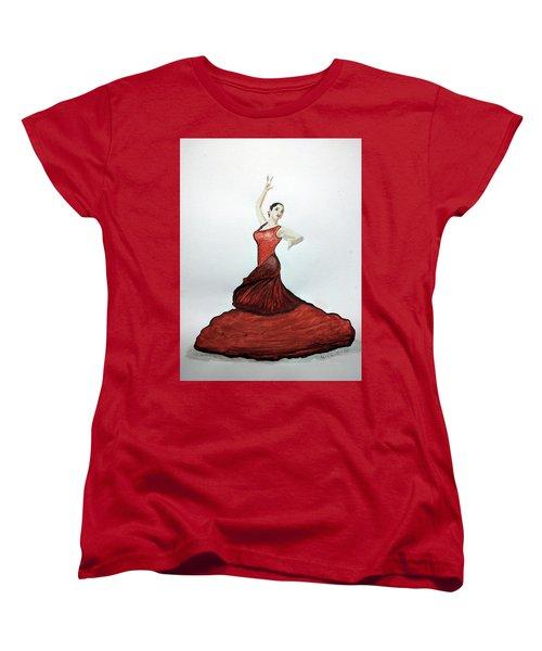 Women's T-Shirt (Standard Cut) featuring the painting Flamenco Dancer by Edwin Alverio