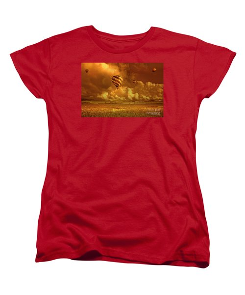 Women's T-Shirt (Standard Cut) featuring the photograph Flaming Sky by Charuhas Images