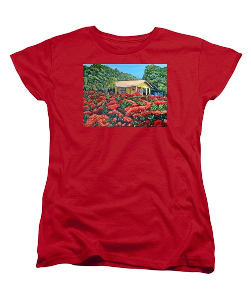 Floral Takeover Women's T-Shirt (Standard Cut) by Marilyn McNish