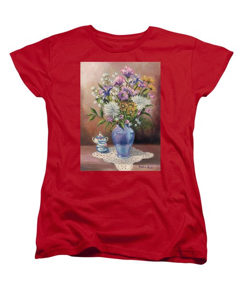 Floral With Blue Vase With Capadamonte Women's T-Shirt (Standard Cut)