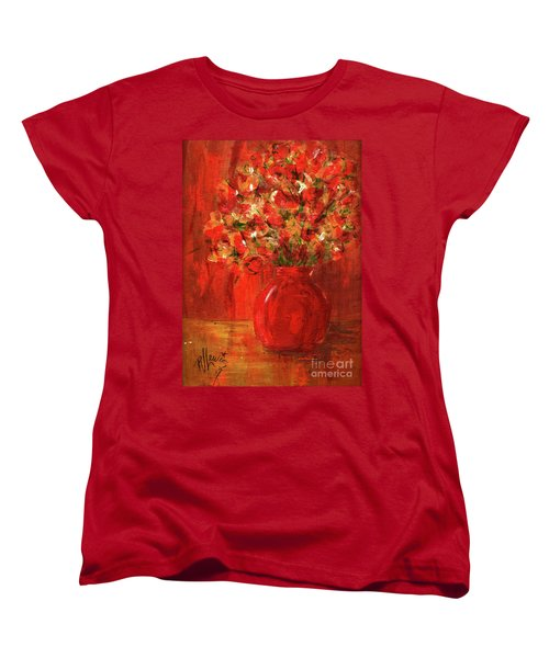 Women's T-Shirt (Standard Cut) featuring the painting Florists Red by P J Lewis