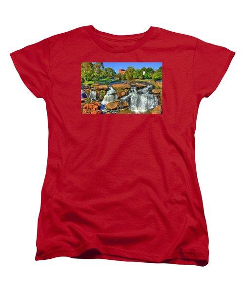 Flow On Reedy River Falls Park Art Greenville Sc Women's T-Shirt (Standard Cut) by Reid Callaway