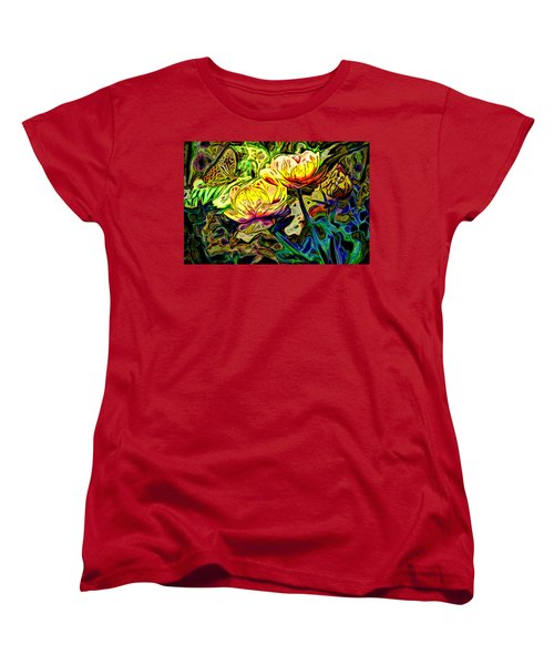 Flowers And Butterfly Women's T-Shirt (Standard Cut) by Carol Crisafi