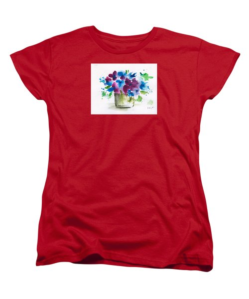 Flowers In A Glass Vase Abstract Women's T-Shirt (Standard Cut) by Frank Bright