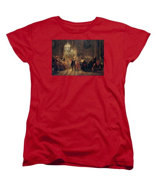 Flute Concert With Frederick The Great In Sanssouci Women's T-Shirt (Standard Cut) by Adolph Menzel