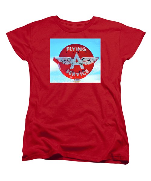 Flying A Service Sign Women's T-Shirt (Standard Cut) by Joan Reese