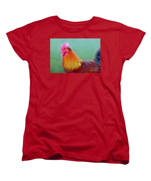 Foggy Morning Rooster Women's T-Shirt (Standard Cut) by Marion Johnson