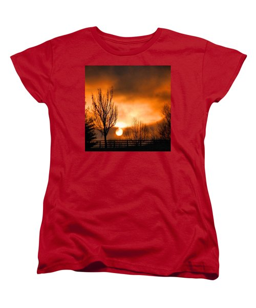 Women's T-Shirt (Standard Cut) featuring the photograph Foggy Sunrise by Sumoflam Photography