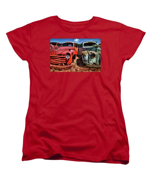 Ford And Chevy Standoff Women's T-Shirt (Standard Cut) by Jeffrey Jensen